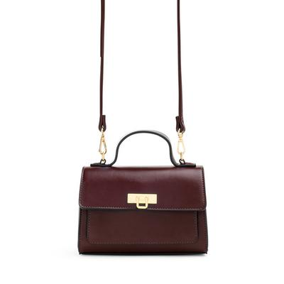 Brown Faux Leather Top Handle Crossbody Bag