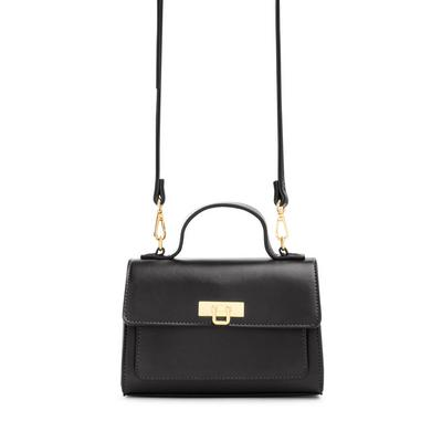 Black Faux Leather Top Handle Crossbody Bag