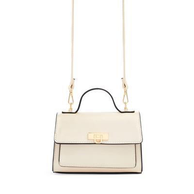 Cream Faux Leather Top Handle Crossbody Bag