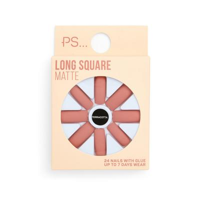 Ps Terracotta Long Square Matte False Nails Set
