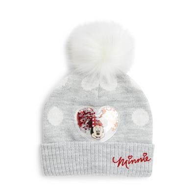 Gray Disney Minnie Mouse Faux Fur Pompom Beanie Hat