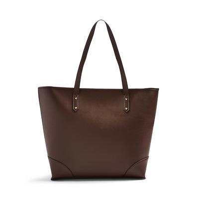 Brown Bonded Shopper Bag