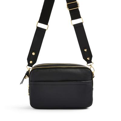Black Faux PU Leather Double Zip Camera Bag