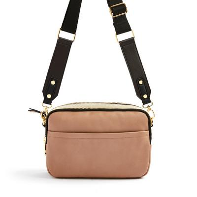 Camel Faux Leather Double Zip Camera Bag