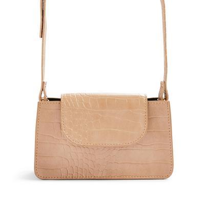 Beige Structured Flapover Crossbody Bag