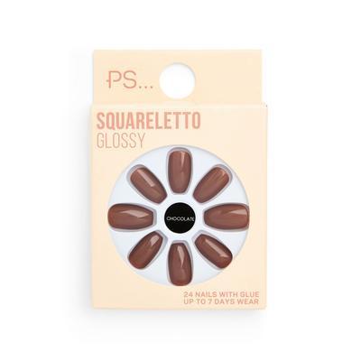 Set unghie finte lucide color cioccolato Squareletto Ps