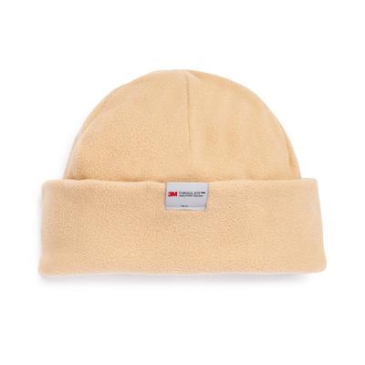 Beige Fleece Thinsulate Beanie Hat