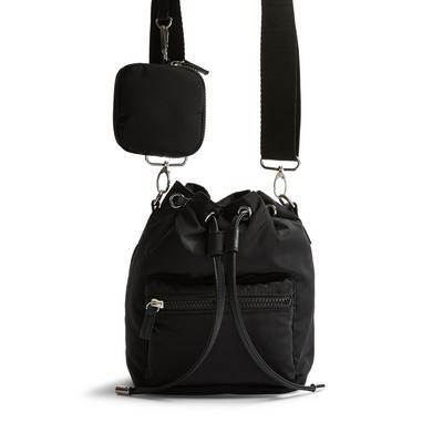 Black Nylon Duffle Crossbody Bag
