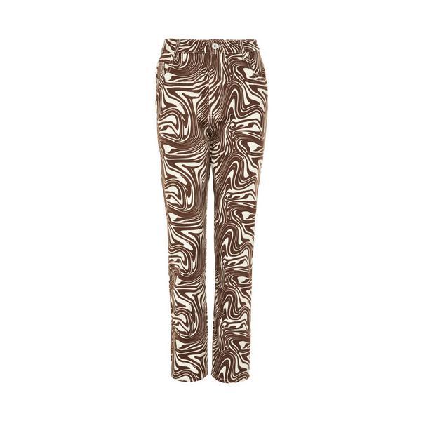 Brown Wave Print Wide Leg Jeans