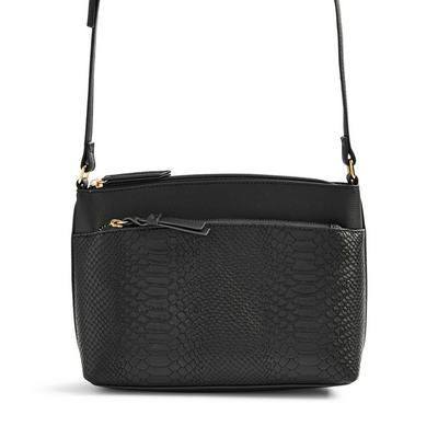 Black Faux PU Leather Pocket Dispatch Bag