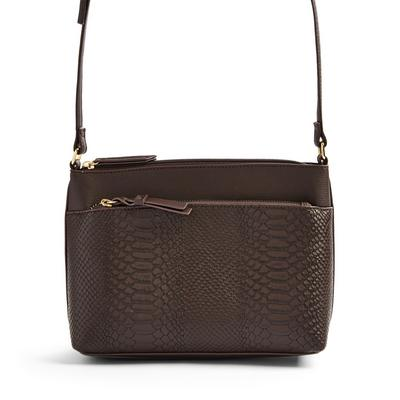 Brown Faux PU Leather Pocket Dispatch Bag