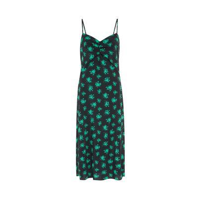 Black Leaf Print Rouched Front Slip Midi Dress