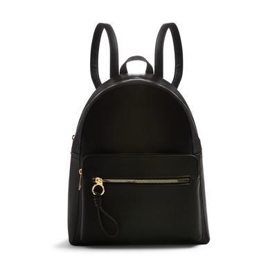 Black Faux PU Leather Front Pocket Backpack