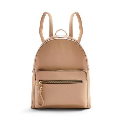 Camel Faux PU Leather Front Pocket Backpack