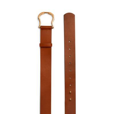 Tan Faux Leather Horseshoe Buckle Belt