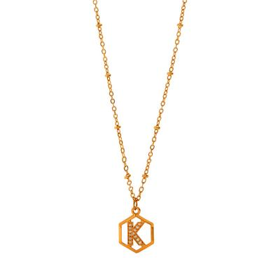 Christmas Gifting Rose Gold Plated Initial Pendant Necklace