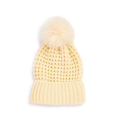 Beige Oversized Pompom Beanie Hat