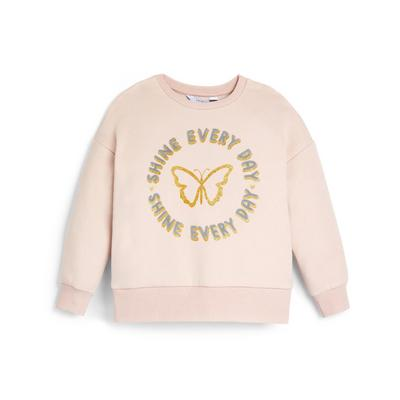 Younger Girl Pink Butterfly Crew Neck Sweater