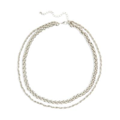 Silvertone Two Row Chunky Rope Chain Necklace