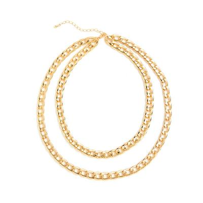 Goldtone Two Row Chunky Curb Chain Necklace