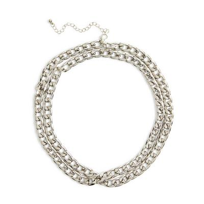 Silvetone Two Row Chunky Curb Chain Necklace