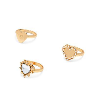 Goldtone Diamante Heart Rings 3 Pack