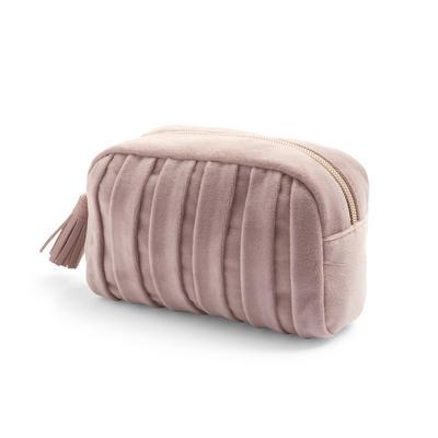 Taupe Pleated Velvet Makeup Bag
