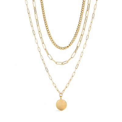Goldtone Three Row Coin Pendant Necklace