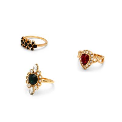 Goldtone Coloured Cocktail Rings 3 Pack