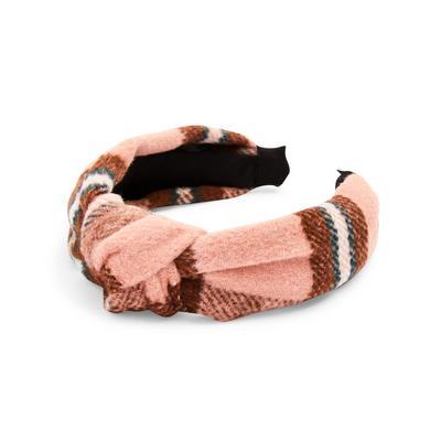 Pink Plaid Knot Headband