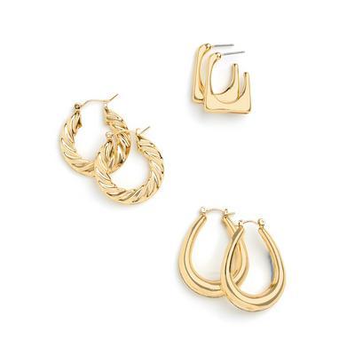 Goldtone Mixed Shape Hoop Earrings 3 Pack