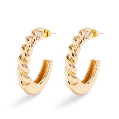 Large Goldtone Chunky Twist Hoop Earrings