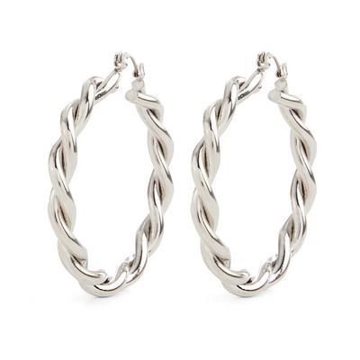 Large Silvertone Chunky Twist Hoop Earrings