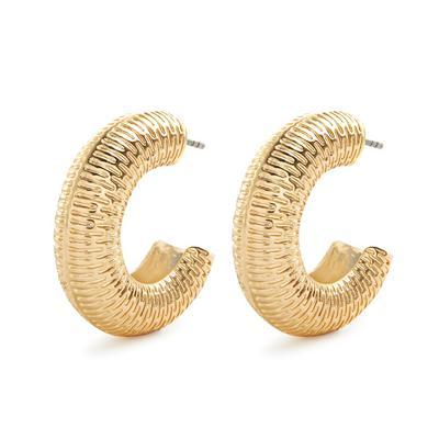 Goldtone Textured Chubby Hinge Hoop Earrings
