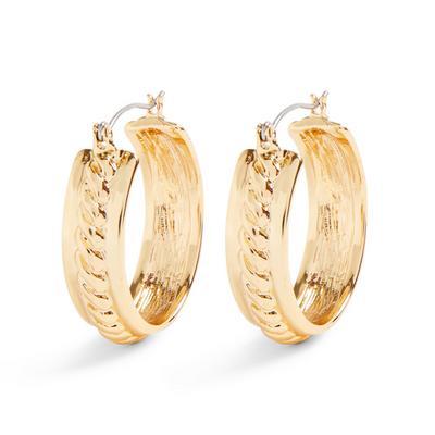 Goldtone Chunky Wide Hoop Earrings