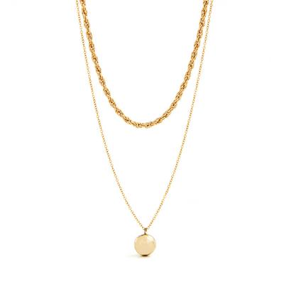 Goldtone Two Row Orb Necklace