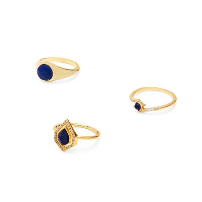 Gold Plated Blue Semi Precious Stone Rings 3 Pack