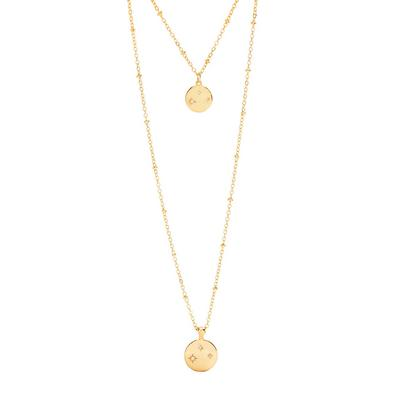 Christmas Gifting Gold Plated Two Row Pendant Necklace