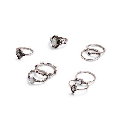 Silvertone Faux Stone Rings 8 Pack