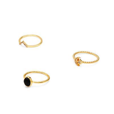 Gold Plated Semi Precious Rings 3 Pack