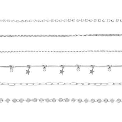 Silvertone Celestial Choker Necklaces 6 Pack