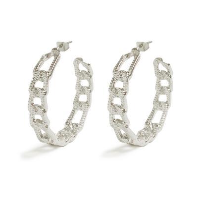 Silvertone Flat Link Chain Hoop Earrings