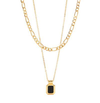 Goldtone Two Row Black Enamel Rectanangle Pendant Necklace