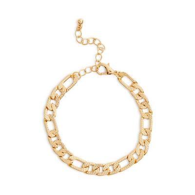 Goldtone Flat Link Textured Bracelet