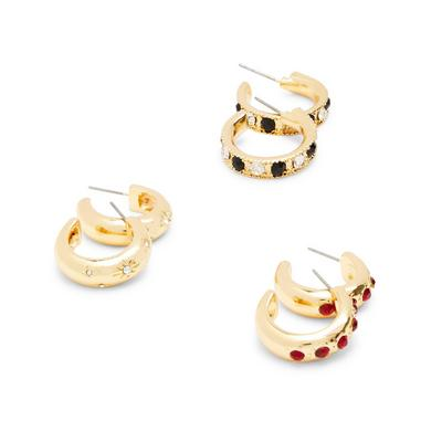 Goldtone Coloured Gem Hoop Earrings 3 Pack