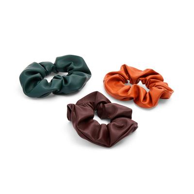 Mixed Faux PU Leather Scrunchies 3 Pack