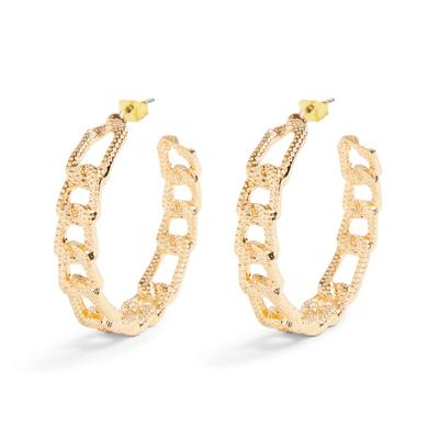 Goldtone Flat Chainlink Detail Hoop Earrings