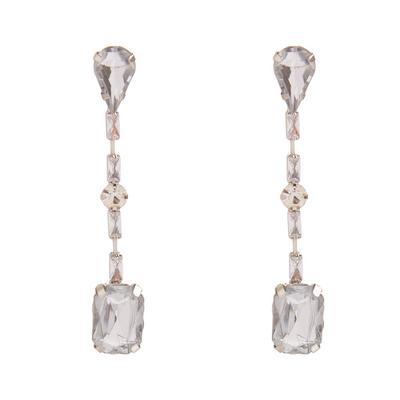 Lange zilverkleurige oorbellen met stras