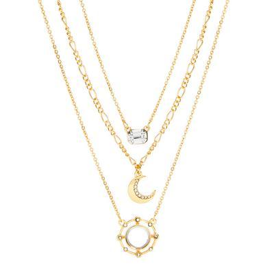 Goldtone Three Row Delicate Moon Necklace