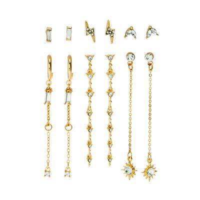 Goudkleurige lange oorbellen met hemellichamen, 6 paar